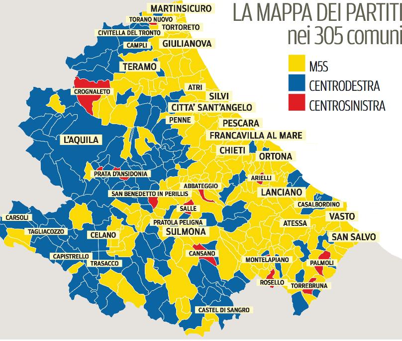 Cartina Della Regione Abruzzo.Certa Stampa La Regione Abruzzo E Dei Cinquestelle Al Centrodestra Vanno 120 Localita 13 Al Centrosinistra